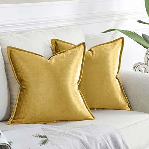 OMMATO Gold Cushion Covers 60cm x 60cm Square Velvet Decorative Throw Pillow Covers for Couch Sofa Living Room 24x24 inch 2 Pack
