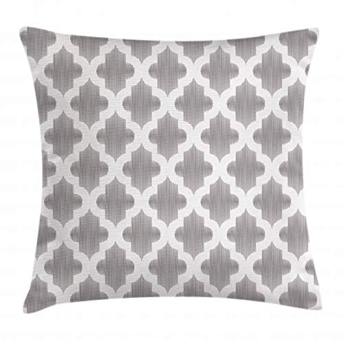 Ambesonne Grey and White Throw Pillow Cushion Cover, Damask Geometric Middle Eastern Effects Arabesque Artful Design Print, Decorative Square Accent Pillow Case, 28 X 28 Inches, Dimgrey White