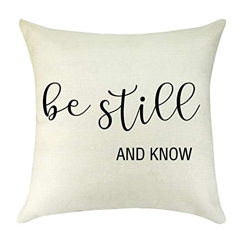Inspirational Gift for Women Men Cushion Cover Cotton Linen Pillow Covers Encourage Gift for Son Daughter Best Friend Decorative Farmhouse Square Throw Pillow Case for Sofa Couch Decor 18' x 18'