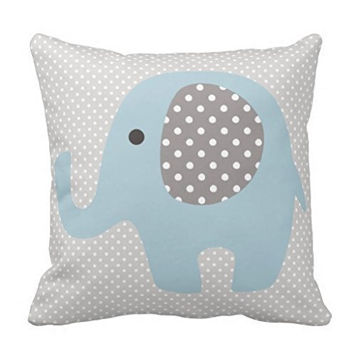 B Lyster shop Beautiful Baby Blue Elephant #2410W Cotton & Polyester Soft Zippered Cushion Throw Case Pillow Case Cover