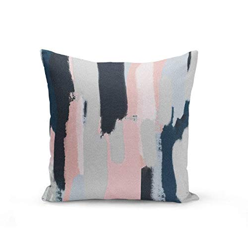 Wi33bbon Pink Navy Pillow Cover Cushion Cover Abstract Art Blush Pink Navy Grey Decorative Throw Pillow Cover