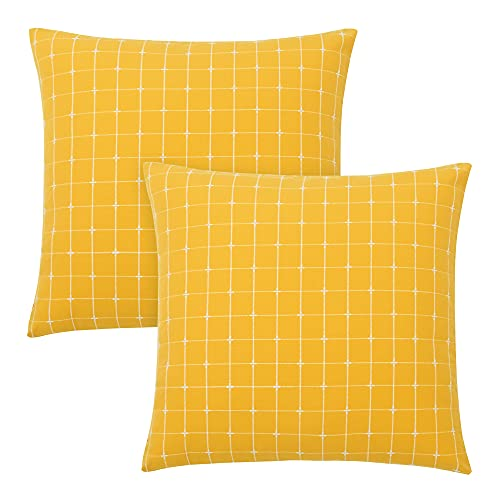 Amazon Brand - Umi Faux Linen Plaid Throw Pillow Case Super Soft Cushion Covers for Sofa Bedroom Decoration 16 x 16 Inch Yellow Set of 2