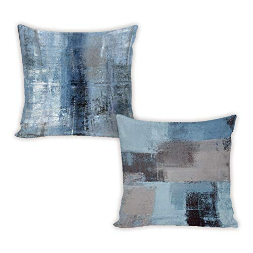 Set of 2 Decorative Throw Pillow Covers Cases Blue and Grey Abstract Art Painting Gallery Modern Artwork Home Decor Square Cushion Cover for Couch Sofa 18 x 18 Pillowcase, Double Sided Printing