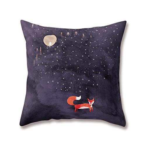 WEIANG Animal Cushion Covers Hand-drawn Cartoon Fox Printing 18x18/45x45cm Double-sided Throw Soft Plush Pillow Cases Home Sofa Bed Decorative