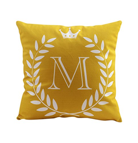 """ZUODU 45X45CM Letter Crown Printing Peach Skin-Like Decorative Pillow Cover Cushion Cover 18x18"""" Free Combination (Letter M)"""