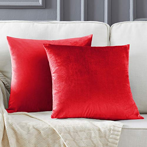 Gigizaza Velvet Red Cushion Covers 18 x 18 Inch Square Decorative Throw Pillowcases 45 x 45cm for Sofa Bedroom Living room 2 pack