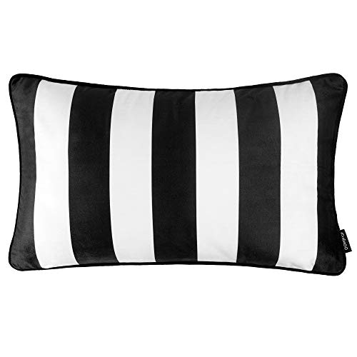 Cushoo Modern Geometric Rectangle Cushion in Monochrome Black and White | Oblong Bolster Decorative Scatter Pillow Covers for Sofa | 30cm x 50cm | 12in x 18in