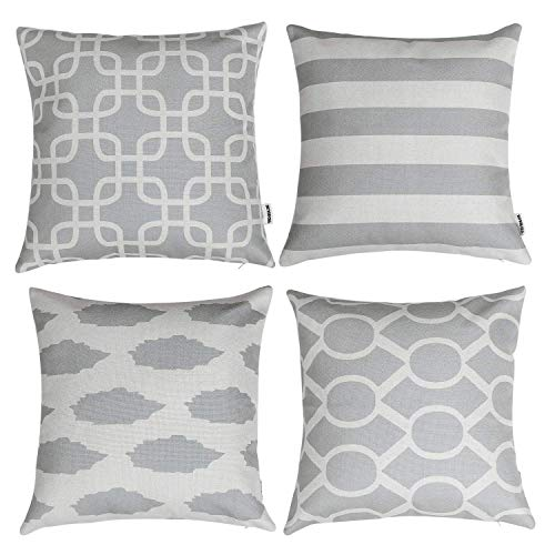 TIDWIACE Grey Cushion Cover Abstract Art Indoor Home Decorative Set of 2 - Accent Throw Pillow Covers Case Pillowcases for Outdoor garden bed couch cushions Bedroom Car with Invisible Zipper 45x45cm