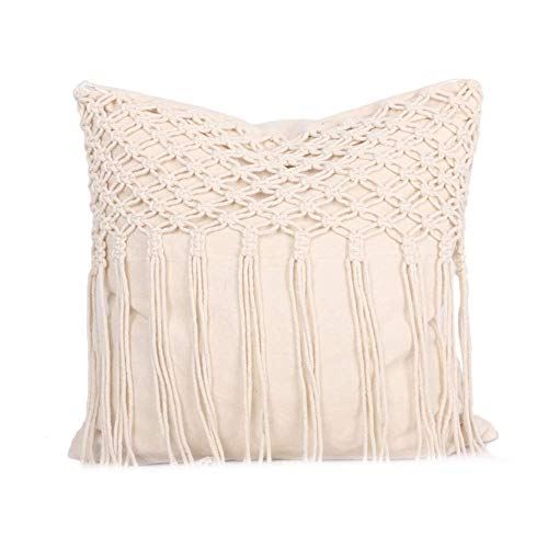 Valink Handmade Woven Cushion Cover, Square 45x45cm 18' Pillow Case, Macrame Boho Tassels Sofa Throw Pillow Cover, Cotton Canvas Pillowcase w/Zipper, Home Decorative Pillow Protective Case - Beige