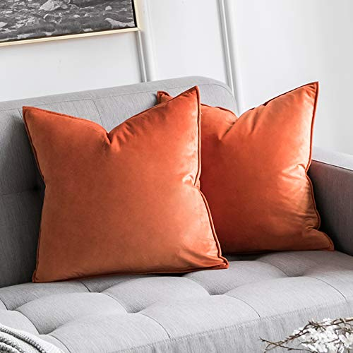 MIULEE Halloween Pack of 2 Velvet Soft Decorative Square Throw Pillow Case Flanges Cushion Covers Luxury Pillowcases for Livingroom Sofa Bedroom with Invisible Zipper 45cm x 45cm 18x18 Inch Set of 2 Orange