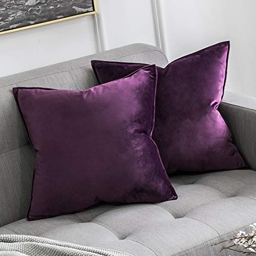 MIULEE Pack of 2 Velvet Soft Decorative Square Throw Pillow Case Flanges Cushion Covers Pillowcases for Livingroom Sofa Bedroom with Invisible Zipper 45cm x 45cm 18x18 Inch Set of Two Aubergine