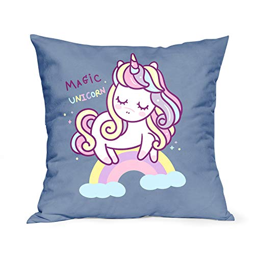 Magic Unicorn Cushion Covers Colorful Wavy Hair Unicorn on Rainbow Throw Pillow Covers Cartoon Decorative Pillowcase Double Sides Pattern 18x18 Gifts for Girl Women Kids for Sofa Bedroom Living Room