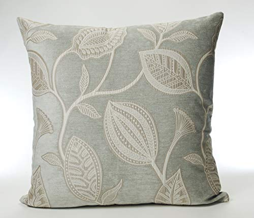 Cuthbert and Black Large Traditional Woven Jacquard 22in x 22in Cushion Cover in Duck Egg Blue
