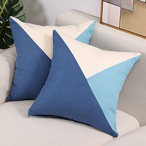 Btyrle Pack of 2, Cushion Covers with 3 Color Triangle Patchwork, Decorative Throw Pillow Cover, Soft Pillowcases with Invisible Zipper for Sofa and Couch, 45x45cm/18x18 Inch