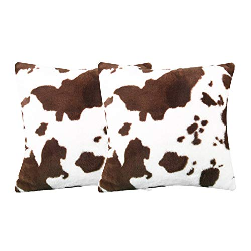 Set of 2 Decorative Pillow Covers Plush Cow Skin Pattern Pillowcase Fashion Home Sofa Cushion Cover for Home Office Bedroom Car Sofa Bed Decor (17.7 x 17.7in)
