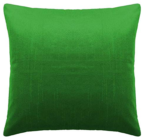 Saffron Floor Cushion Cover Decorative Extra Large Pillowcase Green 28x28 inch (70x70 cm) Polyester Plain Solid Removable COVER, Insert not included