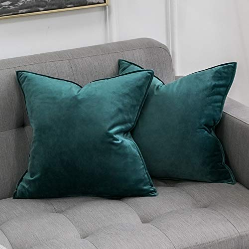 MIULEE Pack of 2 Velvet Soft Decorative Square Throw Pillow Case Flanges Cushion Covers Luxury Pillowcases for Livingroom Sofa Bedroom with Invisible Zipper 65cm x 65cm 26x26 Inch Peacock Green