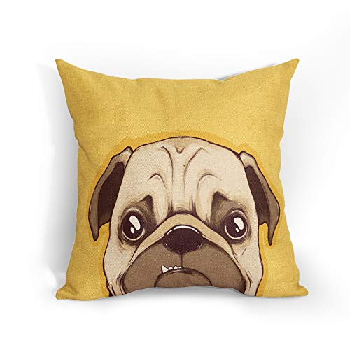Cute Dog Cushion Covers 18x18 Inch Soft Cotton Linen English Bulldog Pillow Case Yellow Background Animal Home Decor Cushions Cover Gift for Women/Girls Outdoor Bedroom Couch Sofa Living Room