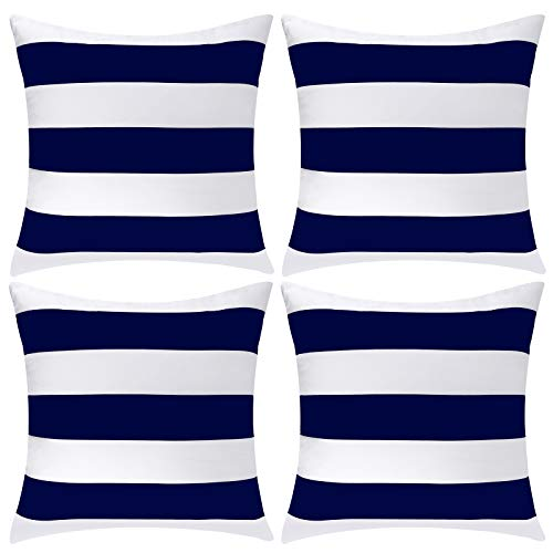 ANECO Pack of 4 Waterproof Pillow Covers Outdoor Throw Pillowcases Square Garden Cushion Case for Home, Garden, Patio, Navy Blue, 20 x 20 Inches