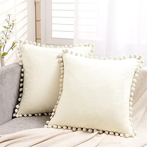 Topfinel Cream Velvet Cushion Covers 22x22 Inch Large Square Decorative Throw Pillowcases for Livingroom Sofa Bedroom 55cmx55cm,Pack of 2