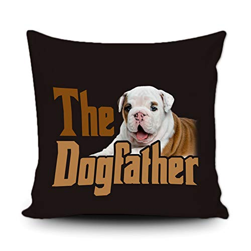BAGEYOU Dog Father Pillow Case English Bulldog Puppy DogDecor Square Throw Cushion Cover for Couch Sofa, 18 x 18 Inch, Double Sided
