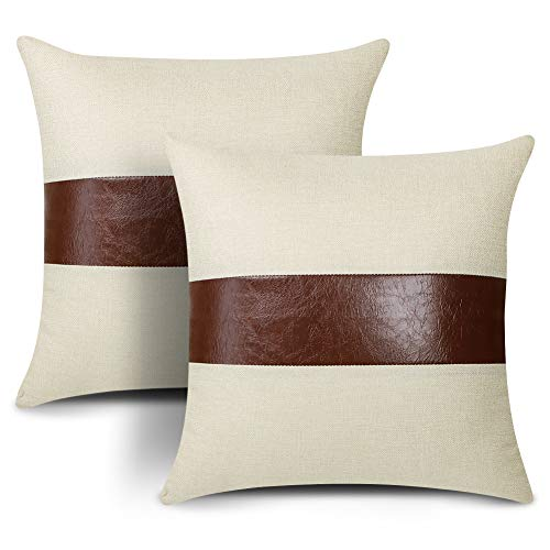Artscope Set of 2 Decorative Cushion Covers 45x45cm Faux Leather Stitching Linen Modern Farmhouse Square Throw Pillow Covers for Sofa Couch Bedroom Living Room Decor (2-Brownish red)