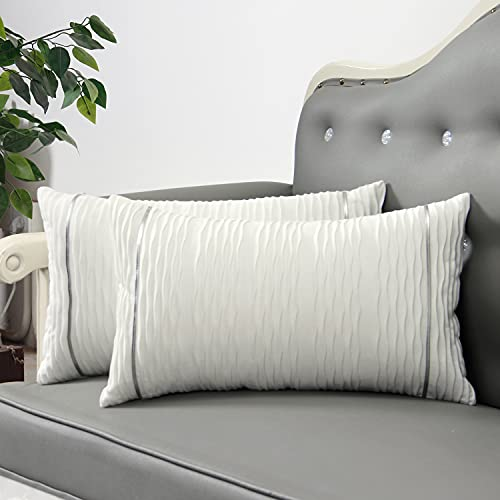 SUNBEAUTY Oblong Cushion Covers 12x20 Soft Velvet Throw Pillow Covers White Decorative Textured Throw Pillowcases Pack of 2 for Couch Living Room Sofa Bedroom