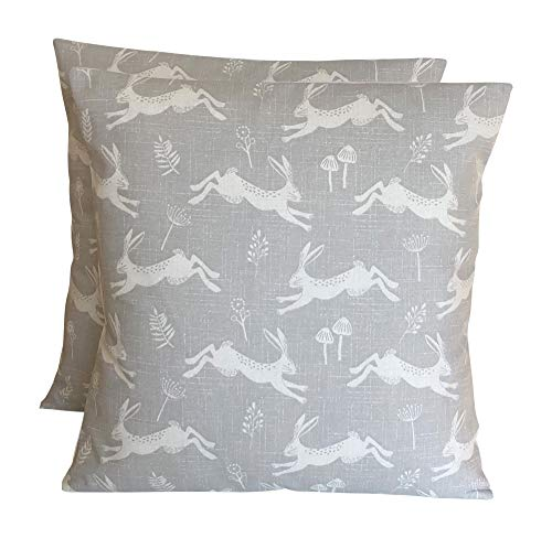CUSHIONS2U Pack Of Two 2 x 16 (40cm x 40cm) Fryetts Jump Hares Hare Silver Grey Off-White Cotton Cushion Covers