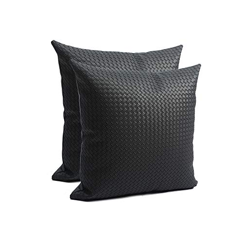 JSL HOME Leather Cushion Covers 2 Pack PU Microfiber Material Square Cozy Soft Pillowcase With Invisible Zipper For Sofa Living Room Car Seat Black Woven Pattern 45x45cm