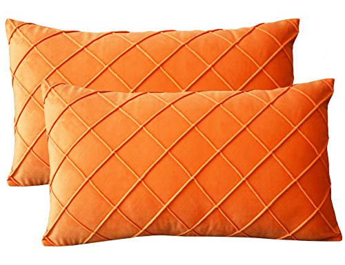 Lutanky Velvet Cushion Covers (Pack of 2) Elegant Rectangle Throw Pillow Cases Checked Design Soft Pillow Covers for Sofa Bedroom Home Decoration12x20 Inch 30 x 50 cm Orange
