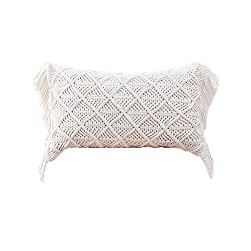 Cushion Covers 100% Cotton Linen Macrame Hand-woven Thread Pillow Covers Geometry Bohemia Style Pillowcase Home Decor 45x45cm-as shown,United States