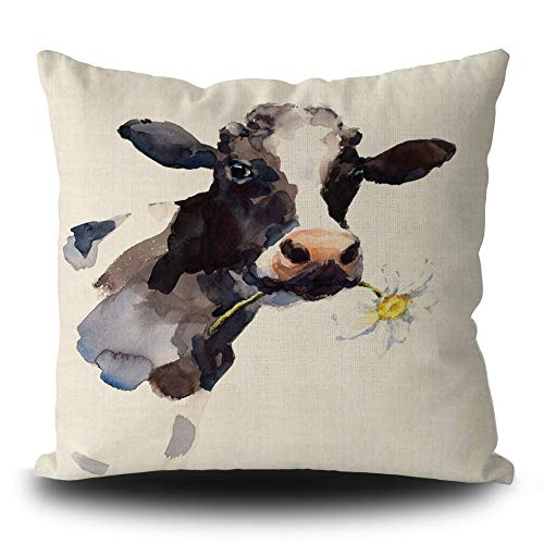 BAGEYOU Throw Pillow Covers Watercolor Cow with a Daisy Flower Farm Animal Cushion Case 16 x 16 Inch Square Home Decorative Linen Pillowcase for Farmhouse