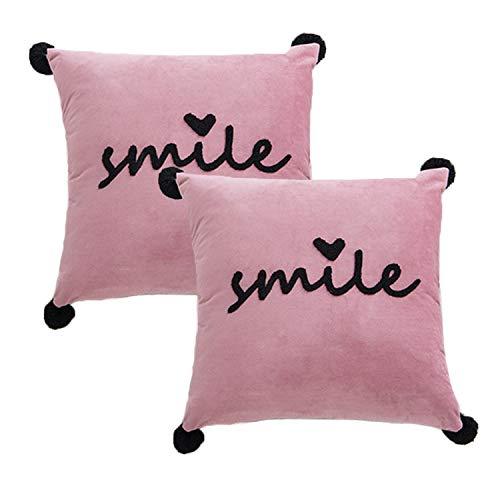 Jahosin Decorative Pink Velvet Throw Pillow Cover, Black Venonat Pillowcase, Square Sofa SMILE Cushion Cover for Gift Livingroom with Hidden Zipper Design,45x45cm(Maoqiu)