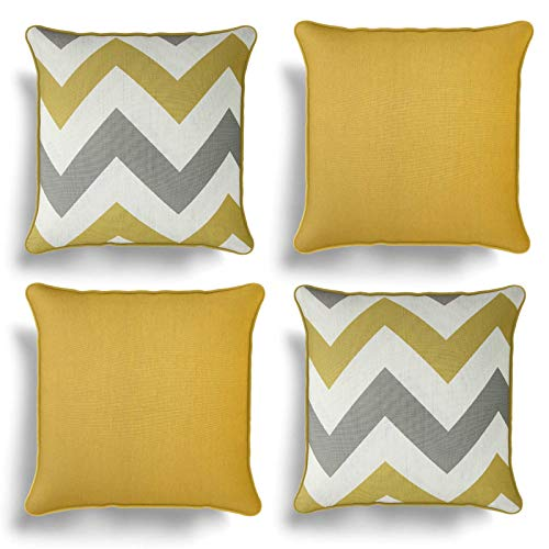 Set of 4 Ochre Yellow Cushion Covers, Pack of Four Matching Chevron Stripe and Plain Design Cotton Cushion Covers, Piped Trim Cushion Cases, Sofa Chair Throw Pillow Cases, 17' x 17', 43cm x 43cm