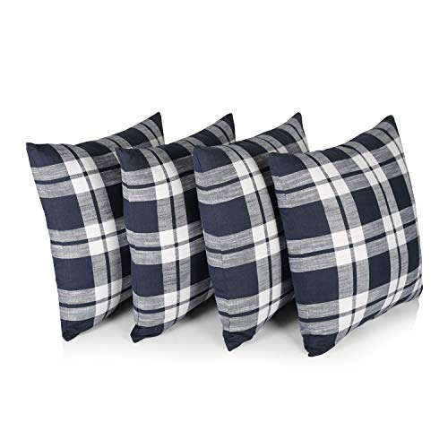 """Penguin Home® 100% Cotton Decorative Double Sided Square Cushion Covers with Invisible Zipper 45cm x 45cm x 18"""" (Set of 4, Navy/White Check), 45 X45 X1 cm"""