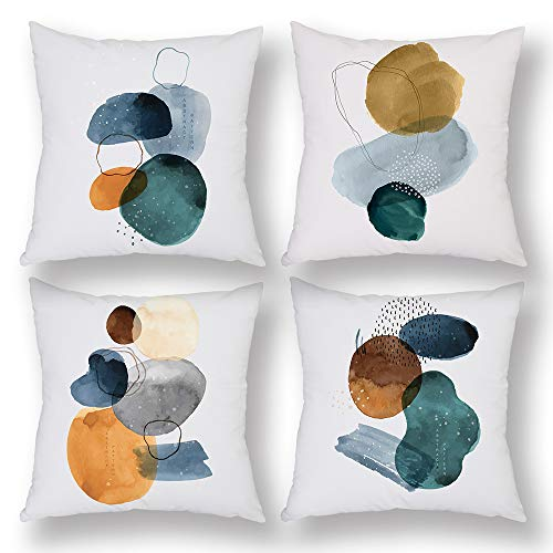 Upgraded Set of 4 Cushion Covers Abstract Pattern Doodle Stone Blue Green Brown Watercolor Jade 45x45cm Premium Velvet Decorative Throw Pillow Cover Home Decor Hidden Zipper Closure Pillow Case bed