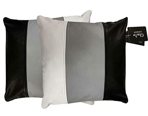 Charlie LONDON 2 x Genuine 100% Black Leather Sofa Cushion Covers Home Decor (Black + Grey + White)