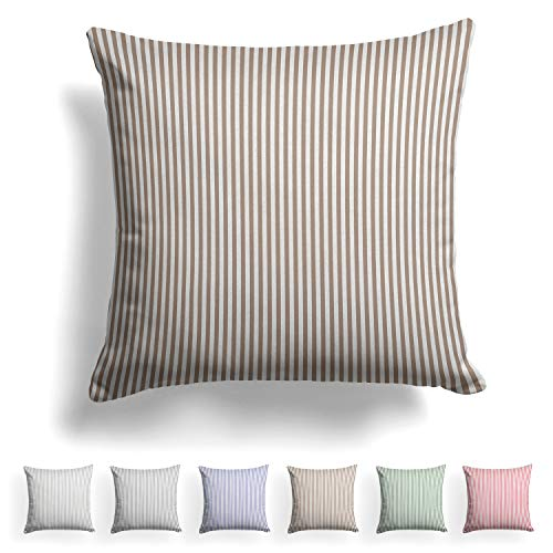 Melunda Renforcé cushion cover, 40 x 40 cm, 100% cotton with YKK zip, brown stripes, 40 x 40 cm cushion cover, hypoallergenic, no chemicals, only cushion cover.