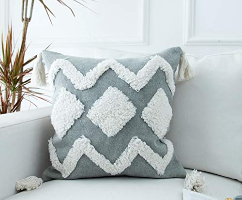 LIGICKY Farmhouse Woven Tufted Boho Decorative Throw Pillow Cover with Tassels, Neutral Tufted Tribal Pillow Case Modern Square Cushion Cover Shams for Couch Sofa Bedroom Home Decor (18x18 Inch, Grey)