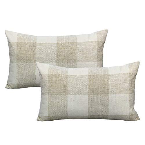 VAKADO 12x20 Inch Buffalo Plaids Decorative Cushion Covers Farmhouse Beige White Retro Checkers Linen Lumbar Rectangle Cushion Cases Home Decor for Sofa Couch Set of 2