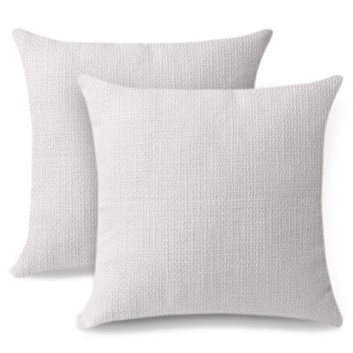 Artscope Cushion Covers Set of 2 Linen Decorative Square Pillowcases Pillow Covers 40x40cm for Home Decor Sofa Bedroom Car (White, 16x16)
