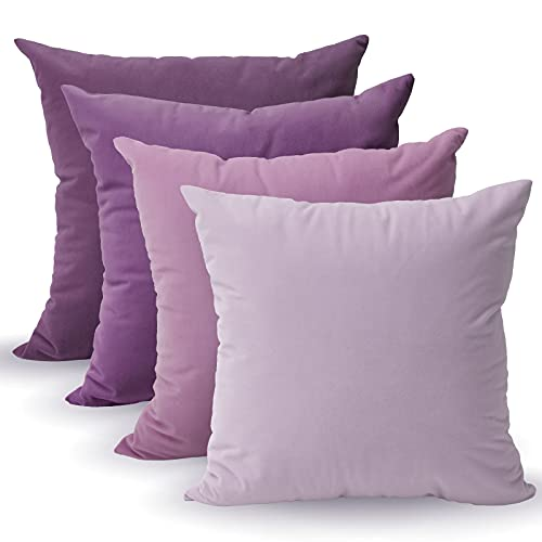 Tayis Purple Cushion Covers 4pc set (45x 45 cm) Solid Decorative Square Pillow Covers Washable Throw Pillow Cases for Living Room, Sofa, Bedroom