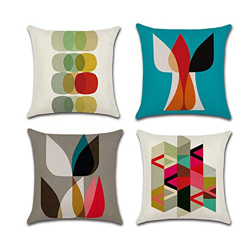 COWORK Set of 4 Geometric Cushion Cover Cotton Linen Throw Pillow Case Decorative Square Sofa Pillowcase for Home Decor Favor, 18 x 18 inch / 45 x 45 cm with Invisible Zipper