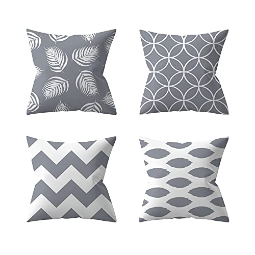 HAFRILY cushion cover 45 x 45cm Pack of 4 home pillowcases reading pillow garden furniture outdoor cushion suitable for bench sofa living room decoration (Grey)