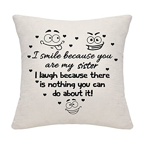 DANKHRA Sister Gifts Funny Throw Pillow Cover Pillowcase Cushion Cover Cushion Case for Sister from Sister Brother Birthday Christmas Sister Pillow Cover