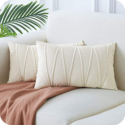 Topfinel Velvet Cushion Covers, Set of 2, Striped, Decorative Sofa Cushion Covers with Hidden Zip