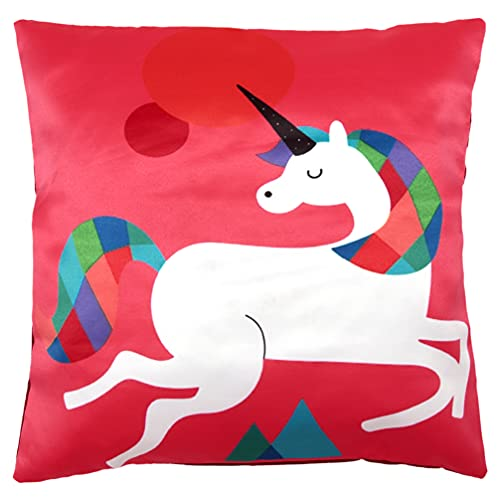 Homeway 45x45cm Cushion Covers Case for Kids children's Room and Home Decors Fox, Penguin, Unicorn, Elephant, Giraffe (18inches x 18 Inches)) (Red Unicorn)