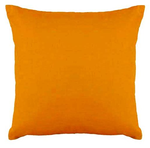 Saffron Floor Cushion Cover Decorative Extra Large Pillowcase Orange 28x28 inch (70x70 cm) Cotton Removable COVER, Insert not included