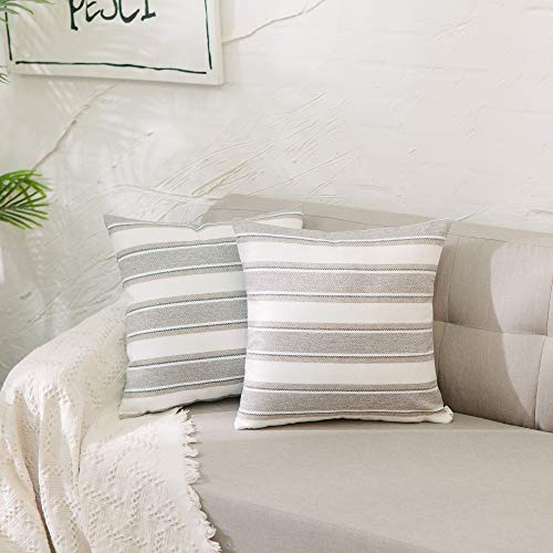 Natus Weaver Striped Throw Cushion Faux Linen Home Decorative Hand Made Pillow Case Cushion Cover For Naps, 18 x 18 inch, 2 Pieces