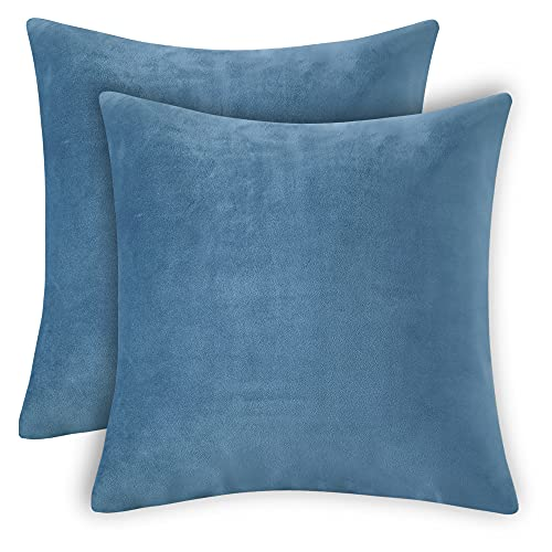RENMEI Dark Egg Blue Cushion Cover for Sofa 18X18 Inches 45cm x 45cm Soft Smooth Throw Pillowcases en Velvet for Bedroom with Invisible Zipper Set of 2